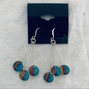 Jewelry - NWT Silver Colorful Dangling Earrings